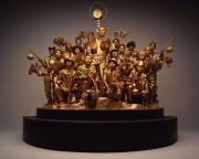 Models in golden costume