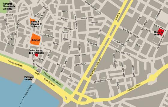 Mapa centro histórico de Almería